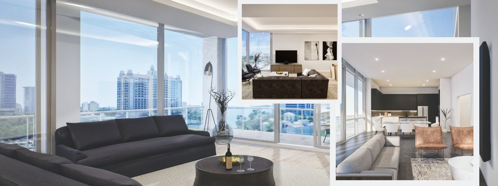 Expansive floorplans at BLVD Sarasota over looking the bay and Sarasota
