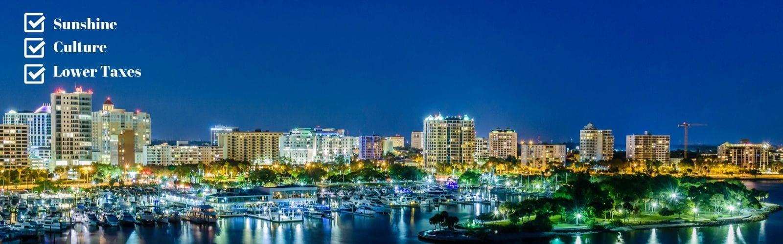 Sarasota at night with BLVD Sarasota