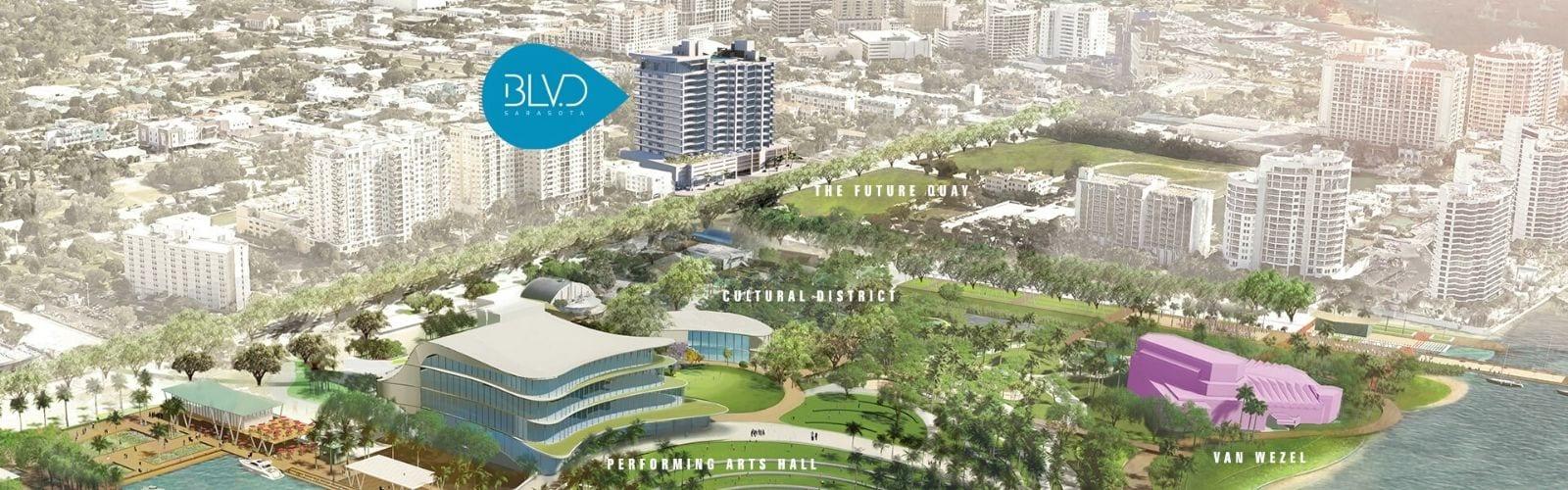 Map of Downtown Sarasota, highlighting BLVD Sarasota