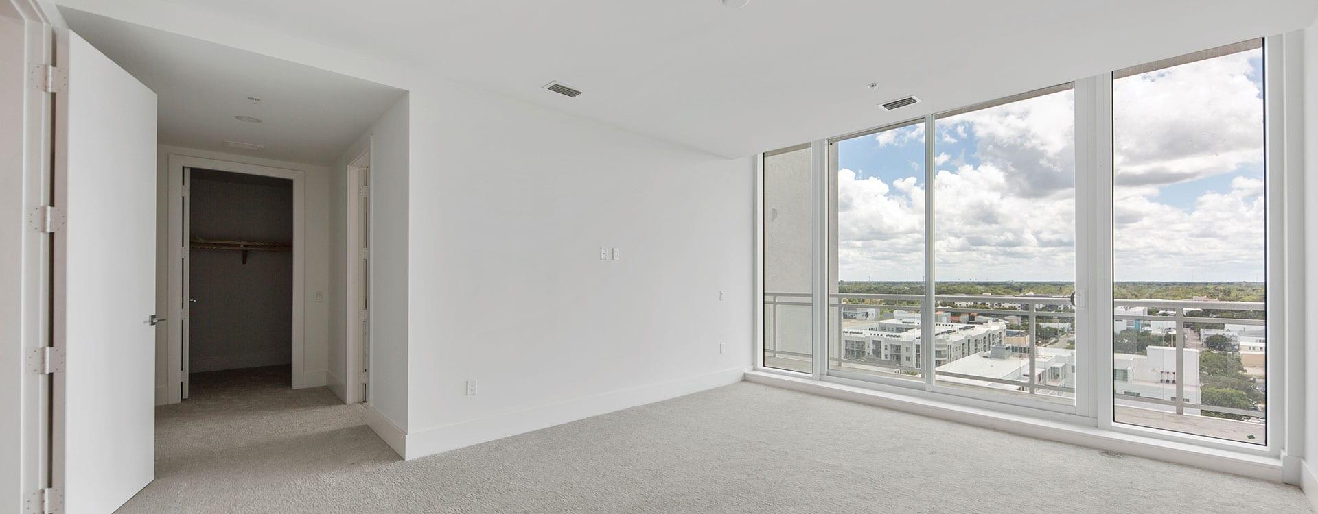 BLVD Sarasota Residence 1102 Bedroom looking out to downtown sarasota