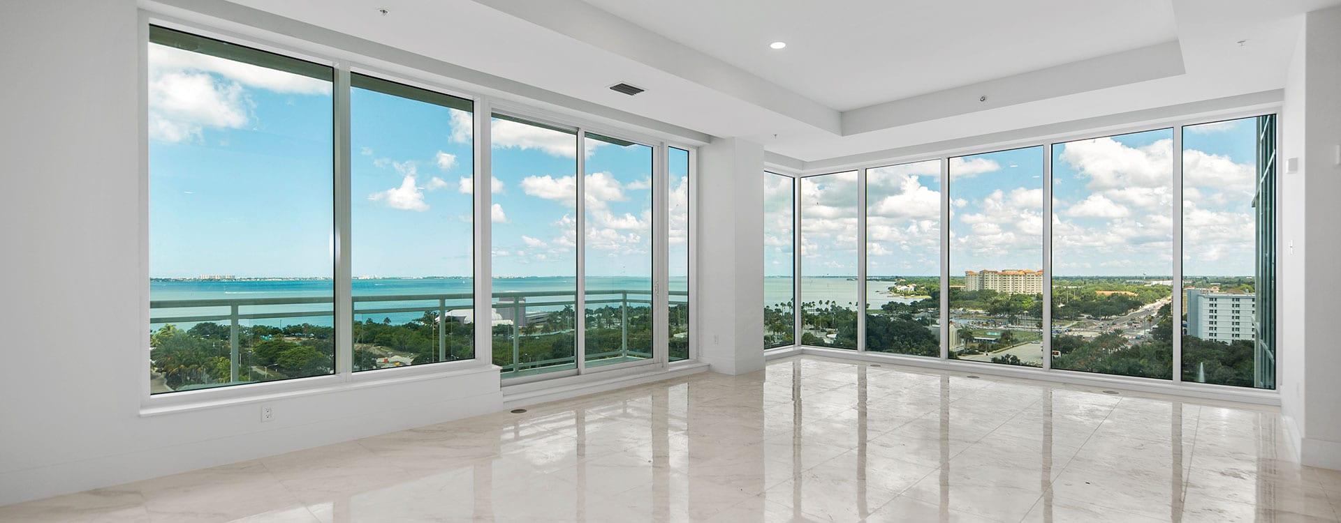 BLVD Sarasota Residence 1102 Great Room with view of the sarasota bayfront