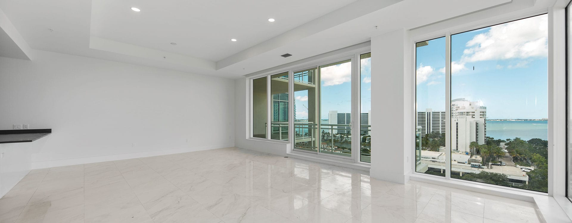 BLVD Sarasota Residence 1102 Great Room with a view of thew sarasota bayfront