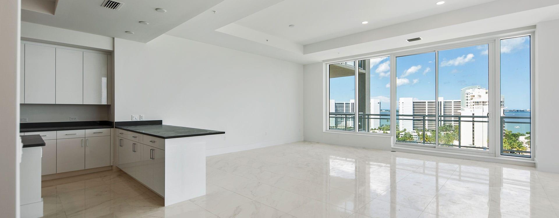 BLVD Sarasota Residence 1102 Great Room with view of sarasota bayfront