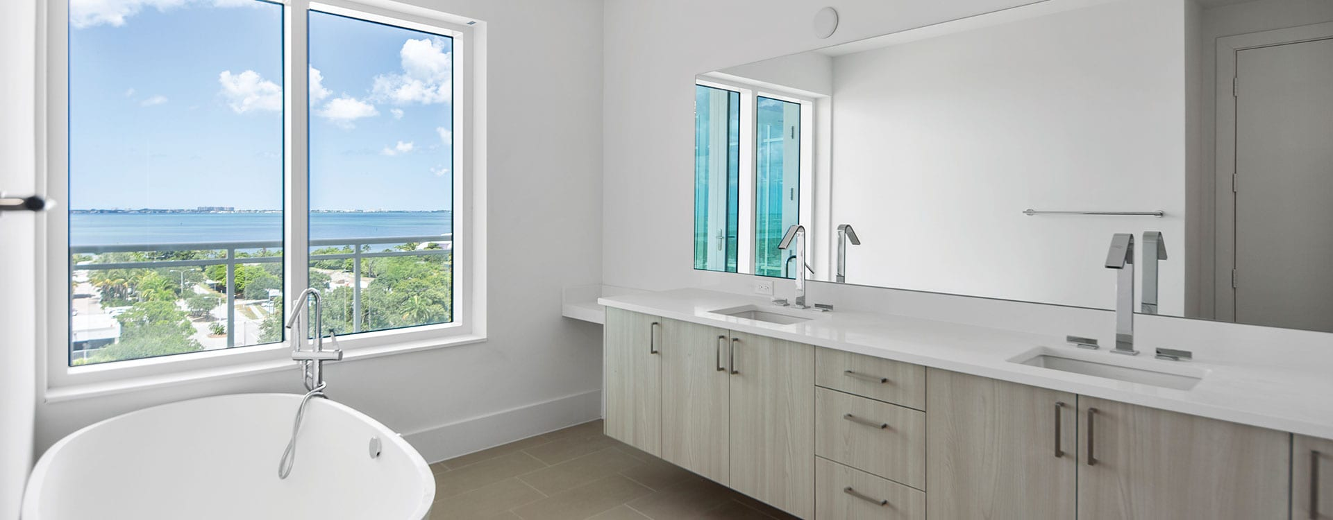 BLVD Sarasota Residence 901 Bathroom with a view of the bay