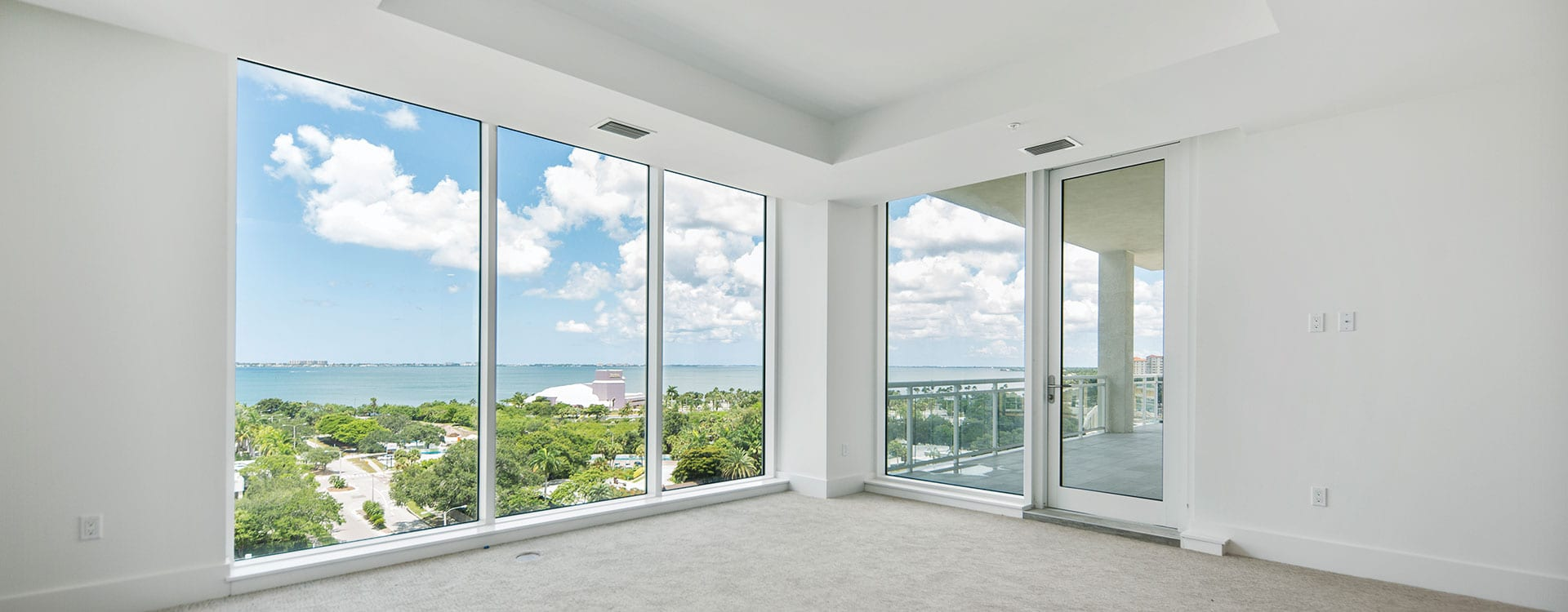 BLVD Sarasota Residence 901 Bedroom with a view of the Van Wezel and Terrace