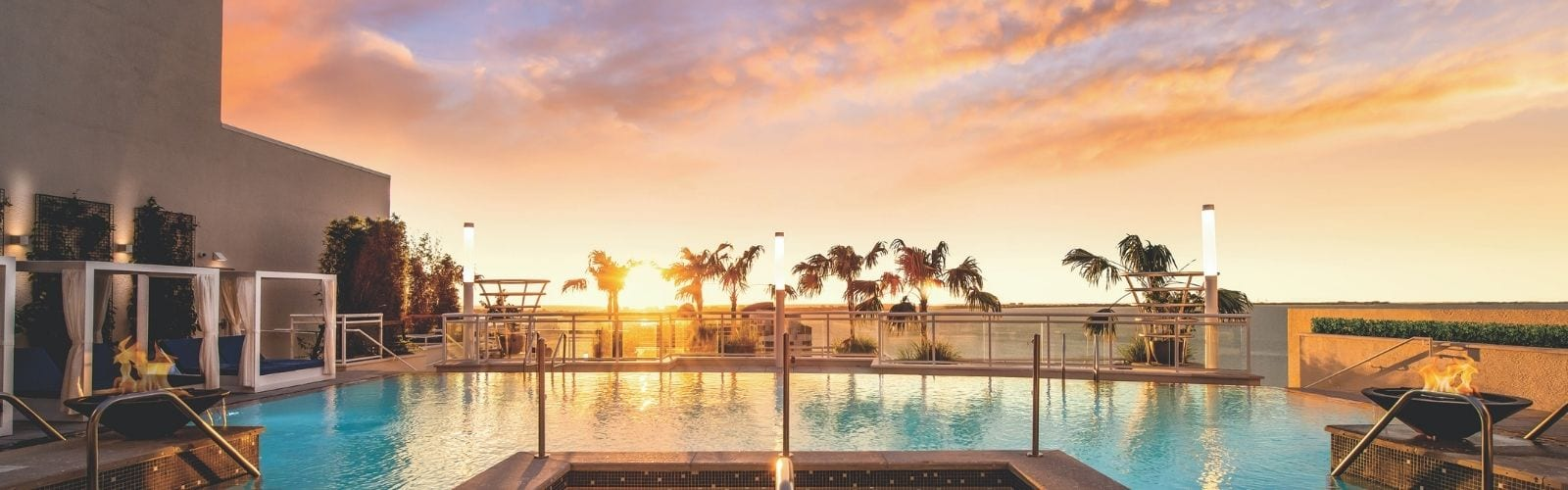 blvd rooftop pool at sunset
