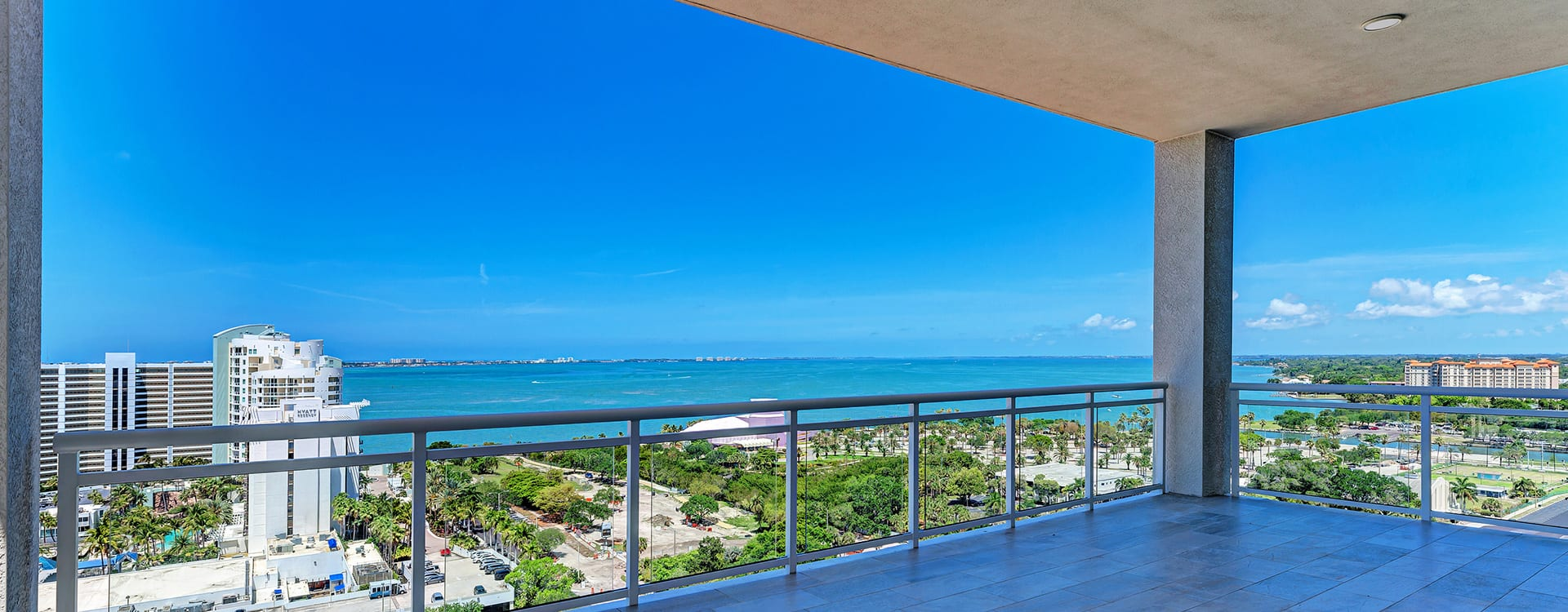 terrace and views of gulf of mexico at BLVD Sarasota Residence 1603