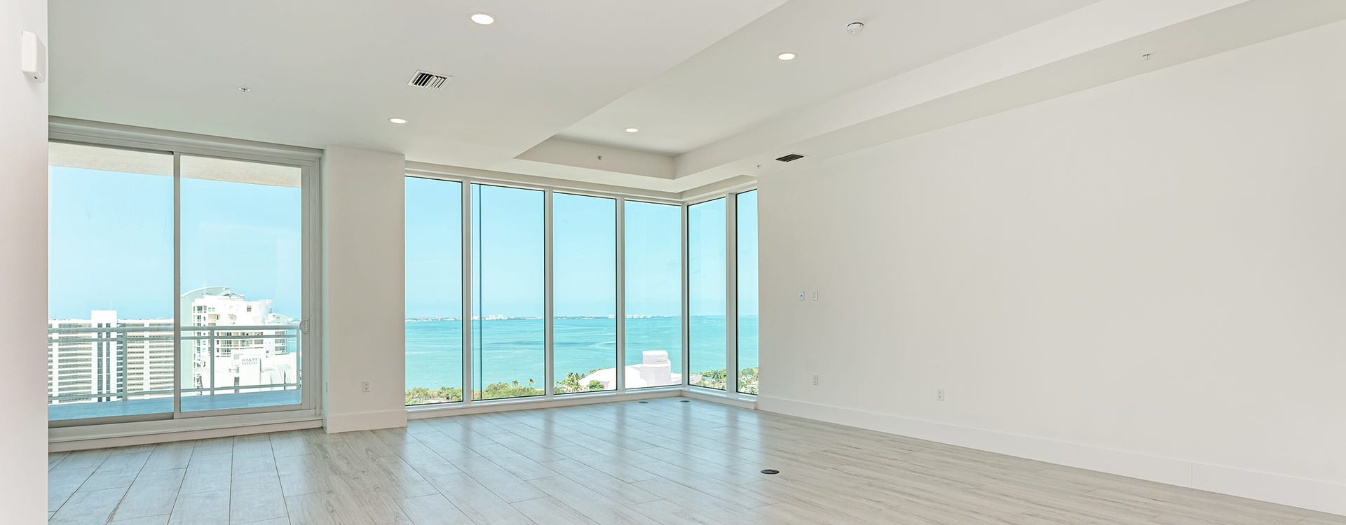 BLVD Sarasota Residence 1603 great room with view of the gulf of mexico