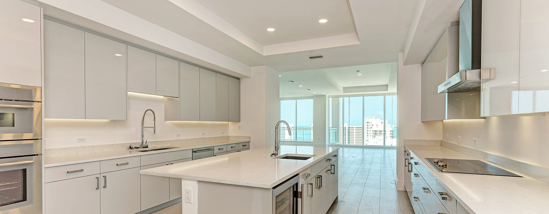 BLVD Sarasota Residence 1603 kitchen and island with view