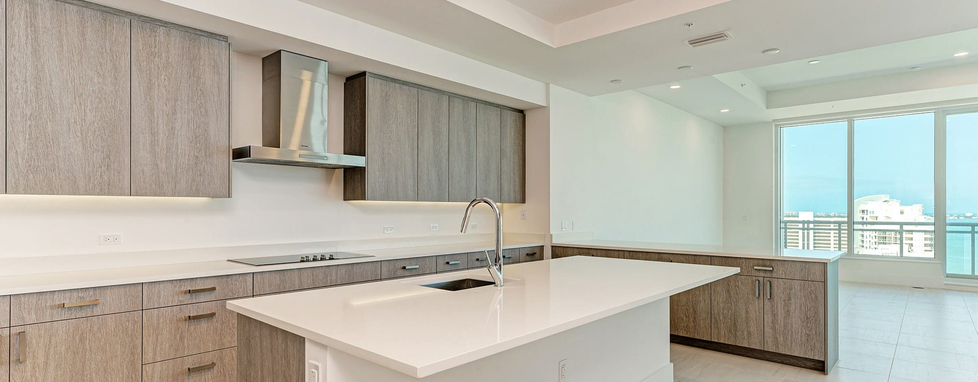 kitchen and island at BLVD Sarasota Residence 1702